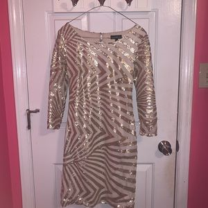 Dresses & Skirts - Gold Sequined Dress with Cutout Back